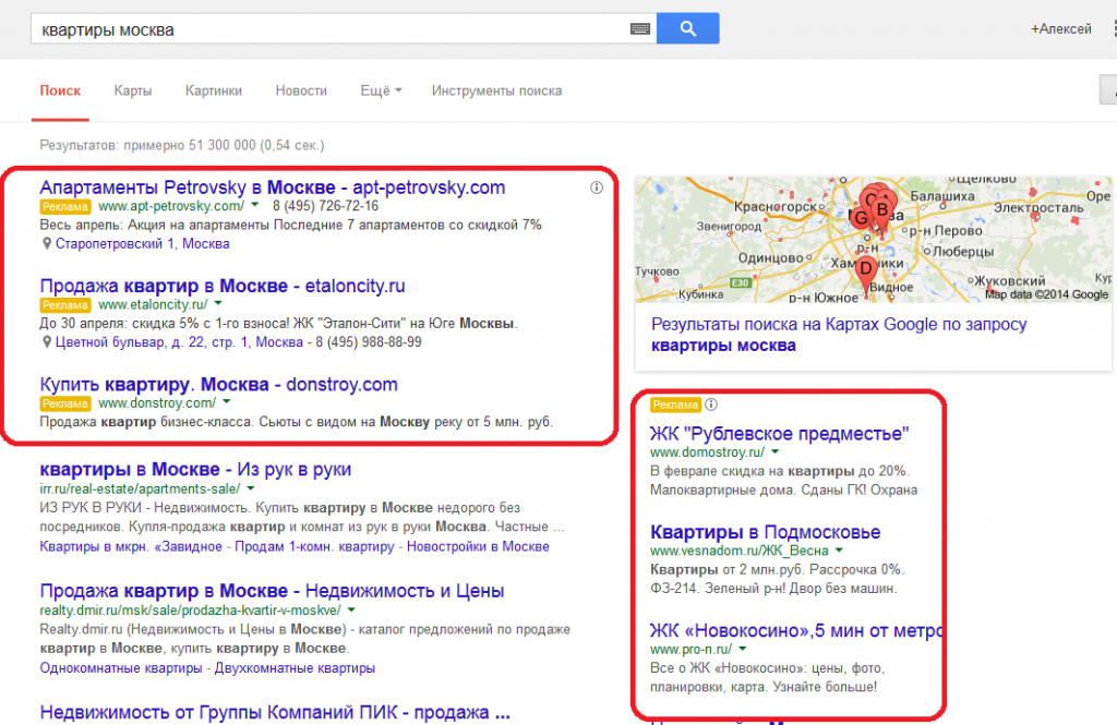 Блоки контекстной рекламы Google.Adwords