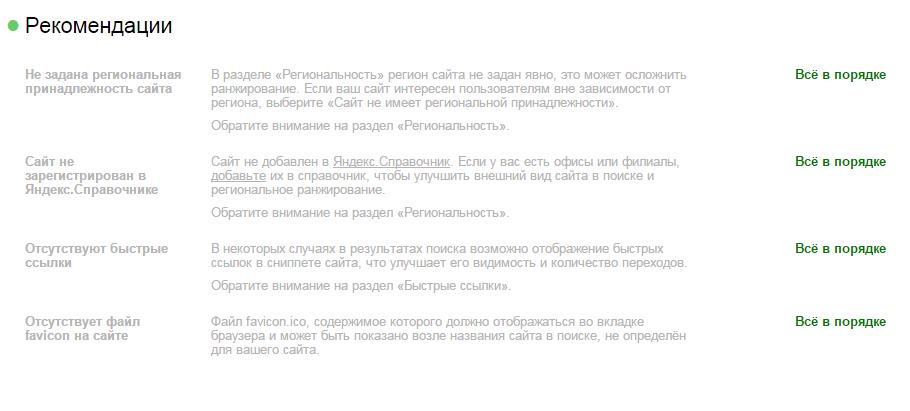 Рекомендации Яндекса в Вебмастере