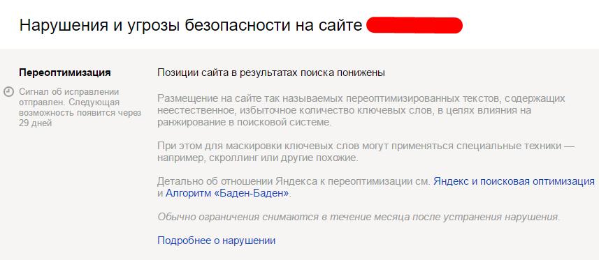 """Баден-Баден"" с письмом в Яндекс Вебмастере"